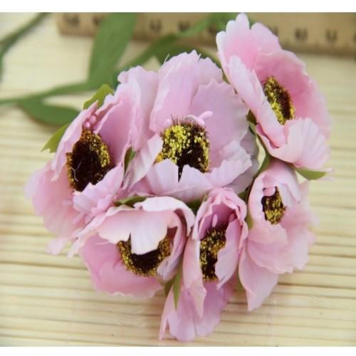 Цветок мака,цв-светло-розовый, цена за 1 шт