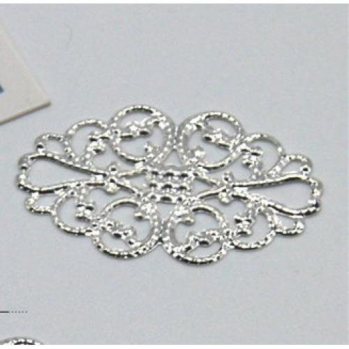 Декоративный элемент,филигрань,цв-серебро,20*32мм.цена за 1 шт