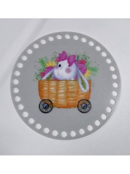 """Пластиковое донышко для корзины с рисунком,круглое,""""Зайка в тележке"""" D-10см"""
