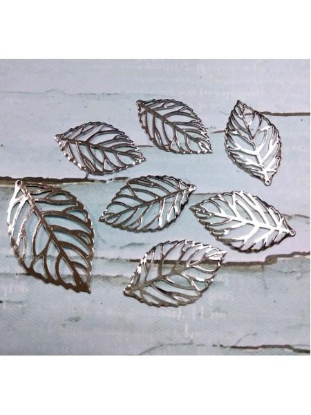 Декоративный элемент листик большой -серебро