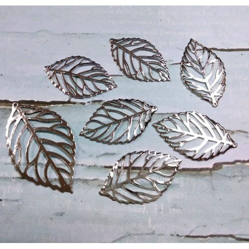 Декоративный элемент листик маленький -серебро