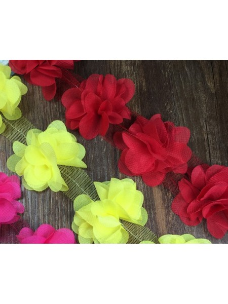 Шифоновые цветы на ленте бордо,цена за 1 м