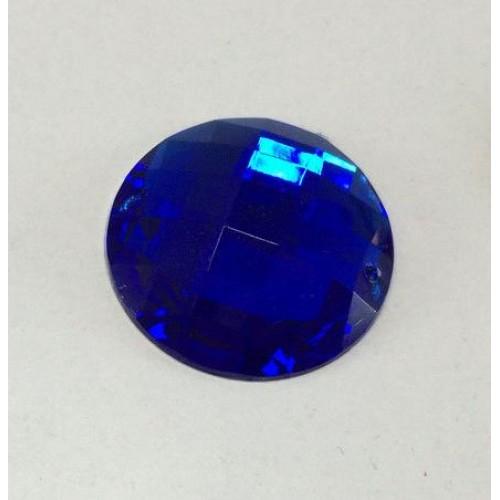 Стразы пришивные,круглые,акрил,10мм,синие, цена за 1 шт
