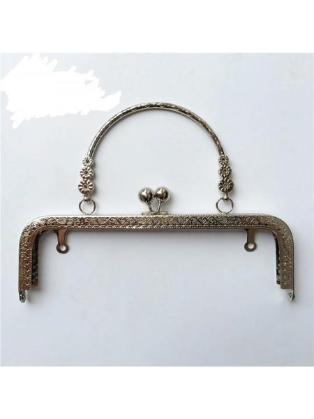 Фермуар с ручкой для сумочки,с ручкой,серебро, 20см