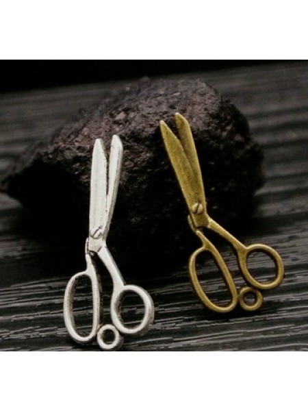 Подвеска ножнички маленькие ,цвет серебро,28*12мм