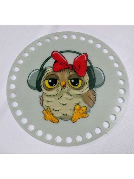 """Пластиковое донышко для корзины с рисунком,круглое,""""Сова-1"""" D-10 см"""