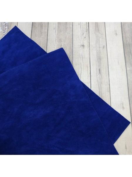 Искусственная замша,18*35см,цв-темно-синий-яркий