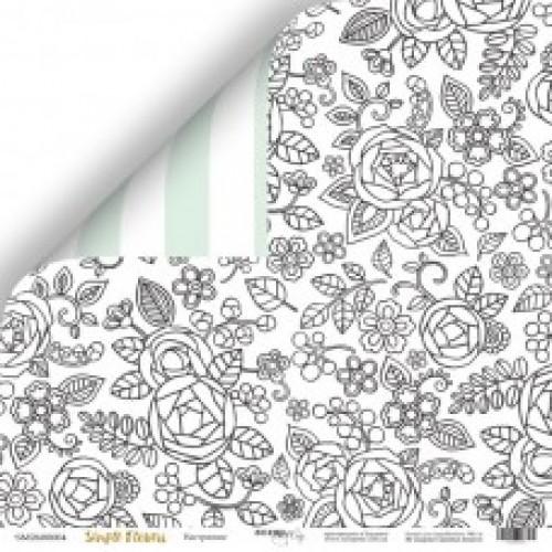 Лист двусторонней бумаги 30x30 от Scrapmir Настроение из коллекции Simple Flowers