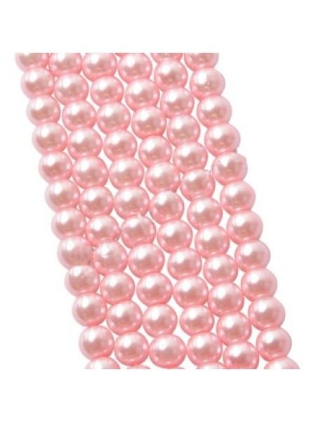 Бусины стекло, под жемчуг-10мм,цв-розовый,цена за 1 шт