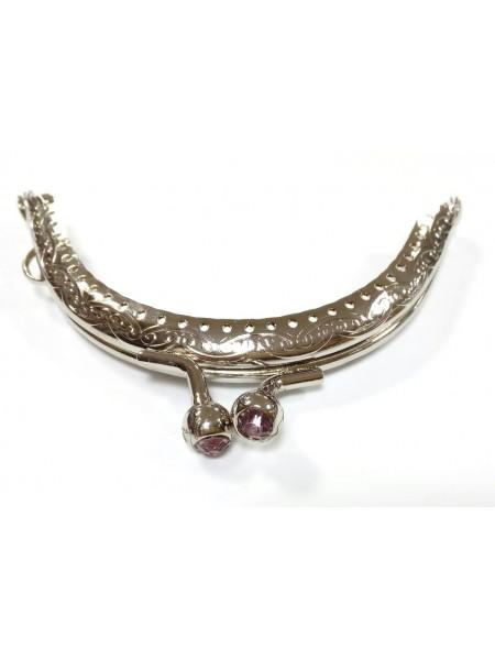 Фермуар круглый пришивной, 8,5 см,цв-серебро с св-розовыми стразами