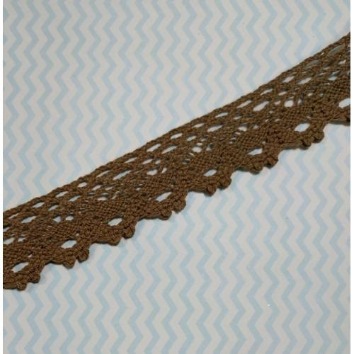 Кружево вязанное ажурное,цв-коричневый,25мм,цена за 1 метр