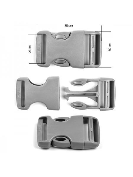 Пряжка-замок (фастекс) -25 мм, цв серый,цена за 1 шт
