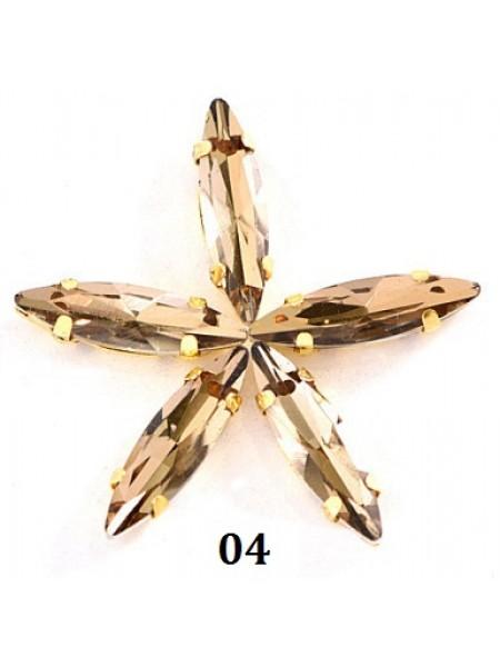 Пришивные стразы в серебрянных цапах ,стекло № 04,лодочка,4*15мм.цена за 1 шт