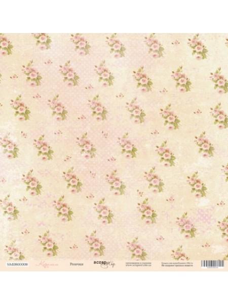 Лист односторонней бумаги 30x30 от Scrapmir Розочки из коллекции Карамель