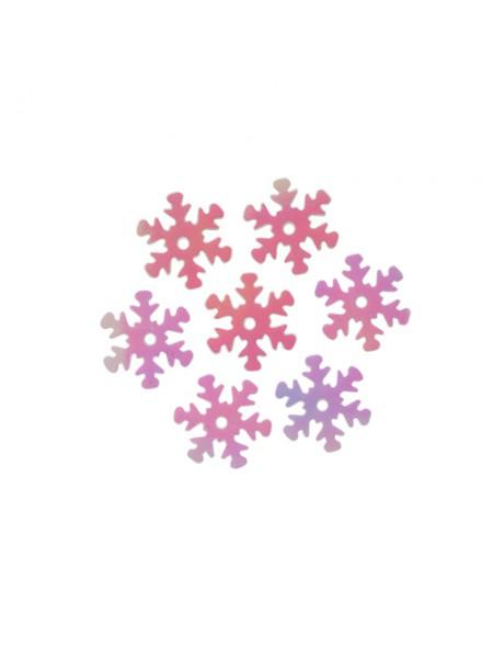 Пайетки 'снежинки',цв-св.розовый перламутр,13 мм- цв-319