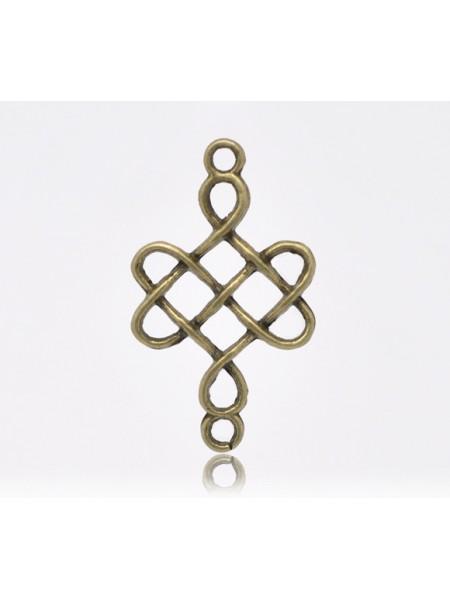 Коннектор Китайский узел, цв-бронза,цена за 1 шт