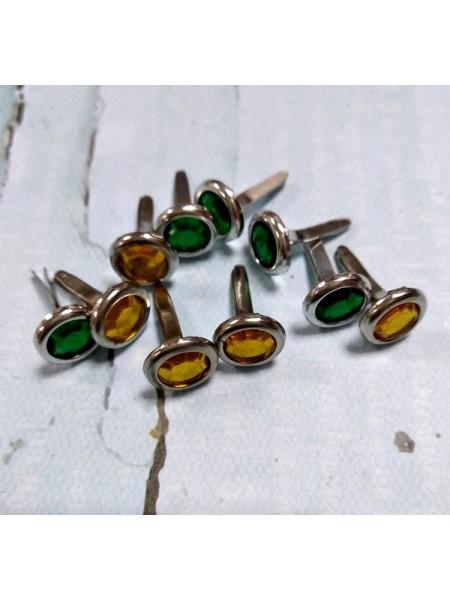 Брадсы кристалл. зелёные и жёлтые ,8мм,. цена за 10 шт