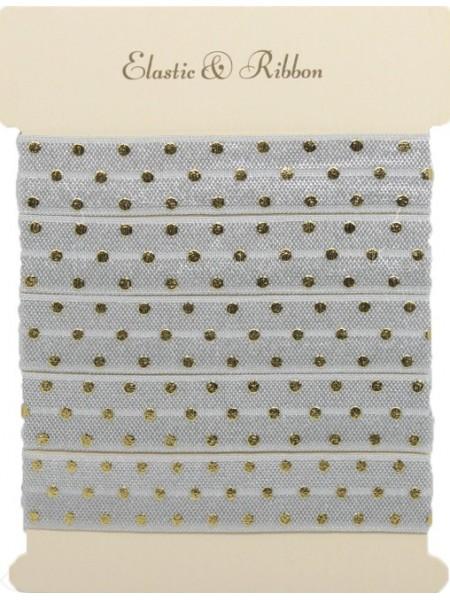 Резинка эластичная,1,5см-золотые горошки на сером. цена за 1 метр