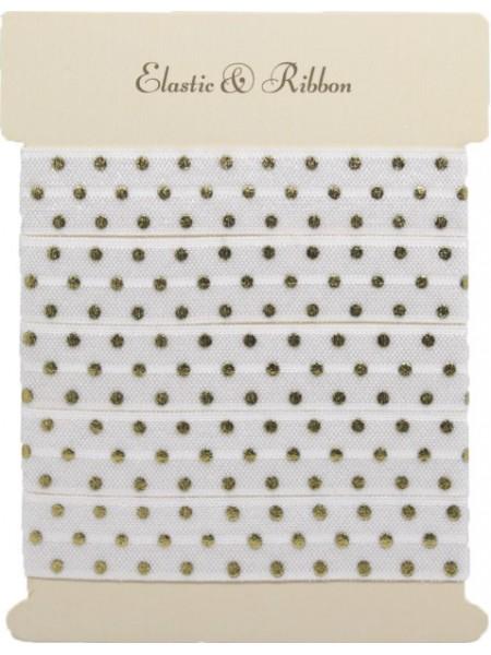 Резинка эластичная,1,5см-золотые горошки на белом. цена за 1 метр