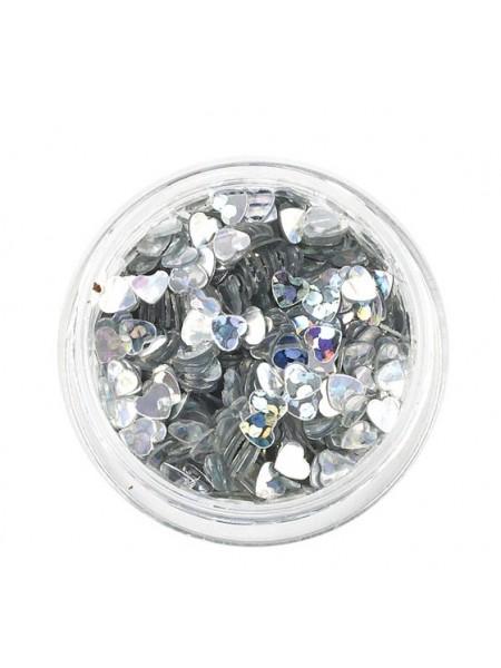 Декоративный наполнитель для смолы,сердечки.Цв-серебро, 3 гр