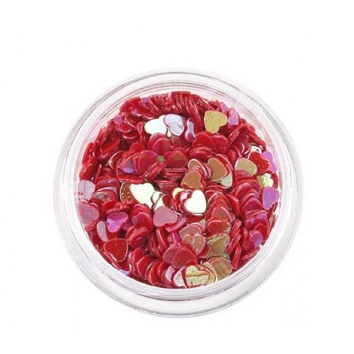 Декоративный наполнитель для смолы,сердечки.Цв.красно-розовый, 3 гр