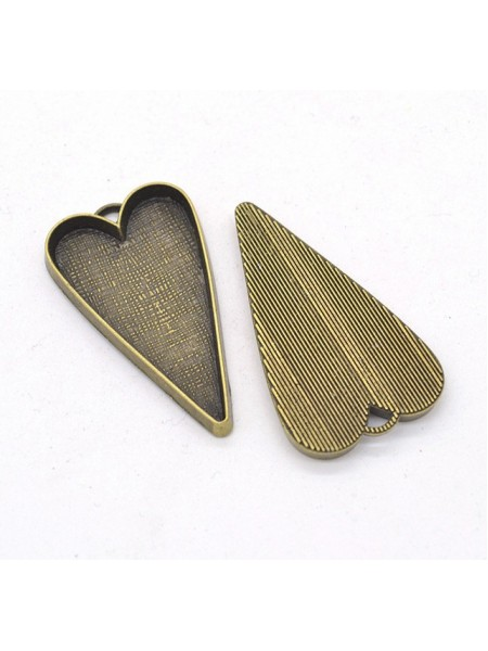 Основа для кулона под заливку(сердечко длинное) ,бронза