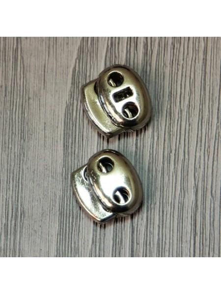 Зажим для 2-х шнуров,цв-никель