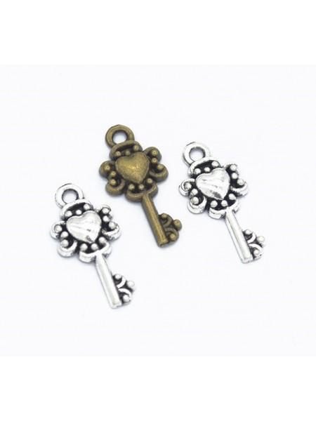 Подвеска ключик с сердечком, бронза,цена за 1 шт