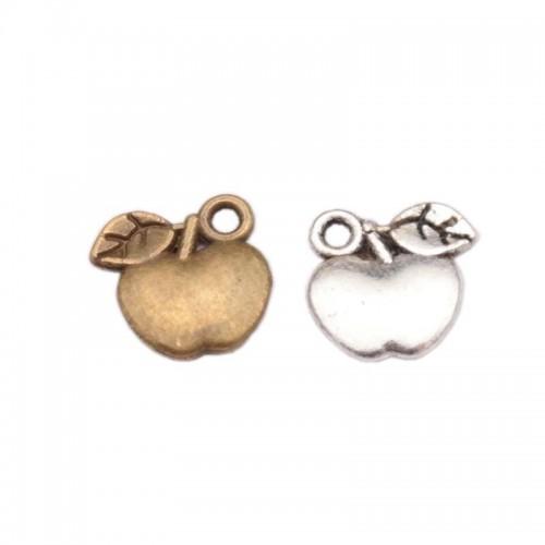 Подвеска яблочко,цвет серебро,10*11мм