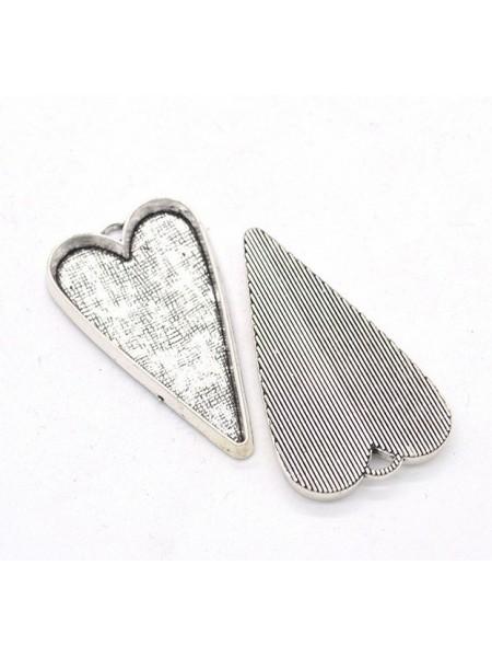 Основа для кулона под заливку(сердечко длинное) ,античное серебро