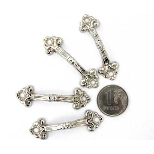 Декор. ручки для шкатулок 48*15мм, серебро.цена за 4 шт