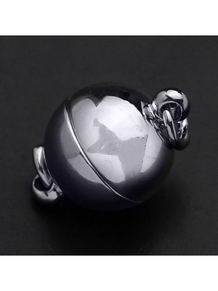 Замок магнитный для бус Шар,цв- черный никель,8 мм