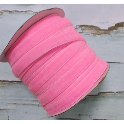 Лента бархатная, 10мм,ярко-розовая,1метр