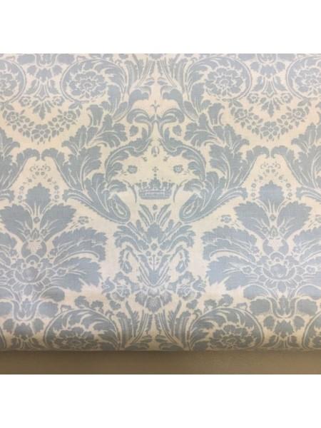 Мерный лоскут(хлопок)-Дамаск серо-голубой на белом,37*50 см.цена за отрез