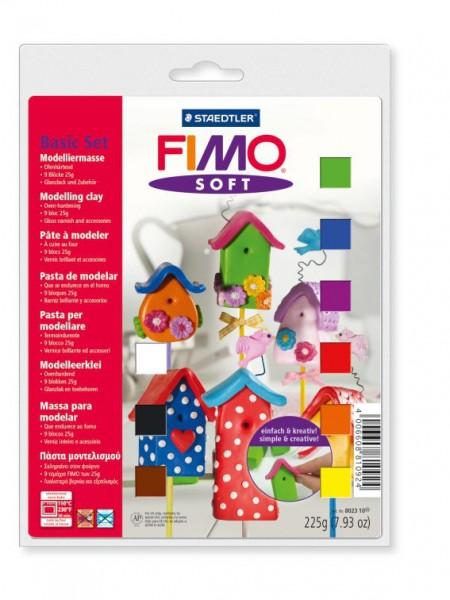 Набор для новичка полимерной глины FIMO Soft 9х25г+лак+инструмент+формочки