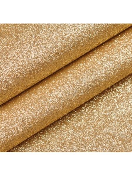 Искусственная кожа с глиттером (глиттерный кожзам),цв-светлое золото,22*35см