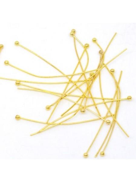 Пины(штифты)с шариком,цв-золото,30мм,цена за 10 шт