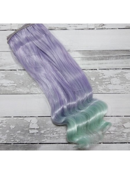 Трессы прямые с завитком,цв-фиолетовый-морская волна -20СМ