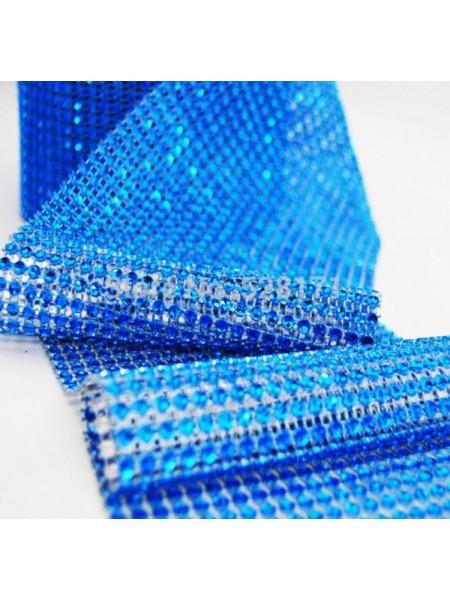 Лента стразовая, пласик цв. синий, цена за 10 см