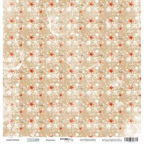 Лист односторонней бумаги 30x30 от Scrapmir Ракушки из коллекции Море