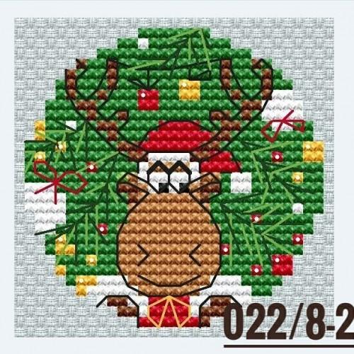 """Основа для вышивания по дереву """"Новогодний шар-лось"""",диаметр 9 см"""