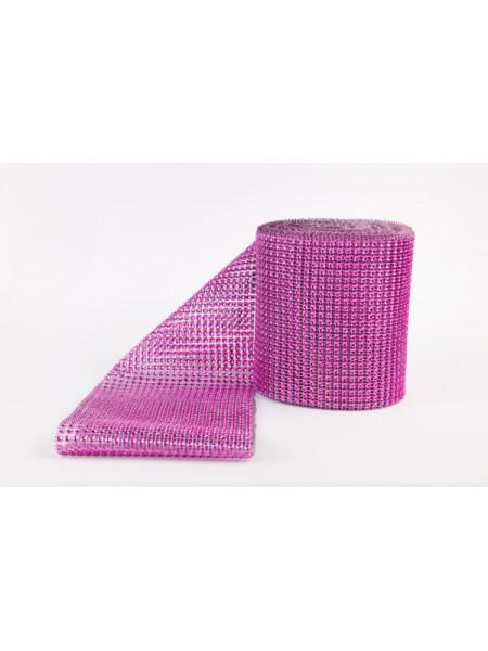 Лента стразовая, пластик цв.малиновый, цена за 10 см