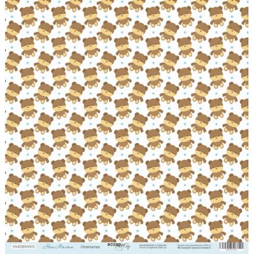 Лист односторонней бумаги 30x30 от Scrapmir Медвежата из коллекции Наш малыш