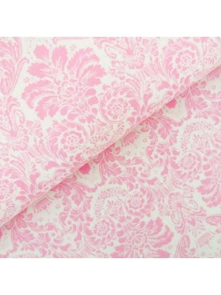Мерный лоскут(хлопок)-Дамаск розовый на белом,37*50 см.цена за отрез