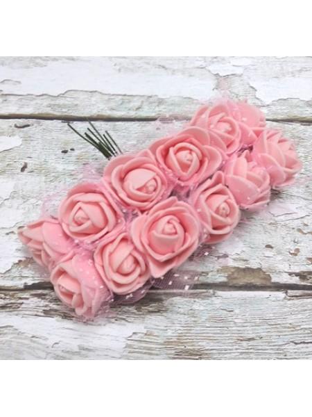 Букетик роз  с фатином,цв-персиковый