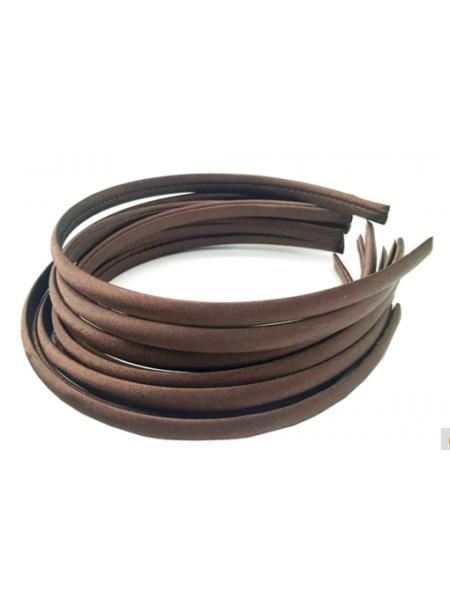 Обруч пластиковый в атласной ленте,10 мм-№9-темно-коричневый