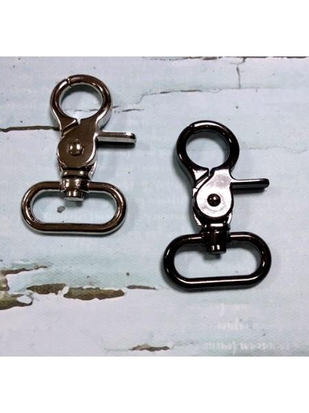 Карабин круглый, цв-серебро,5,3 см. цена за  1 шт