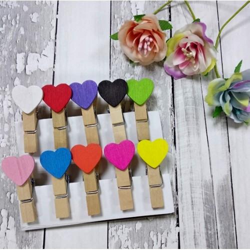 """Набор декоративных прищепок """"Сердечки разноцветные"""""""