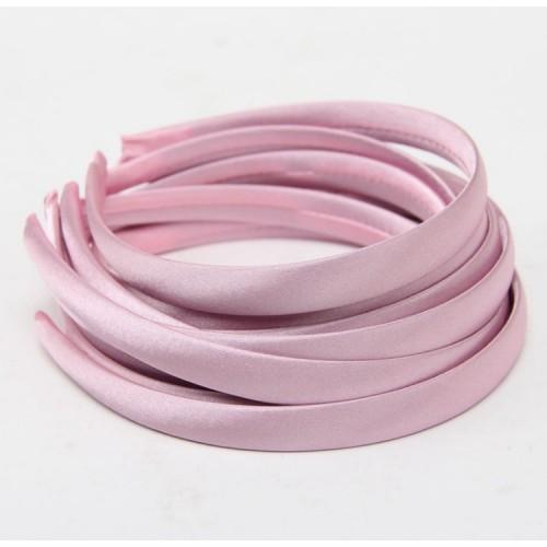 Обруч пластиковый в атласной ленте,10 мм-№5- холодный розовый