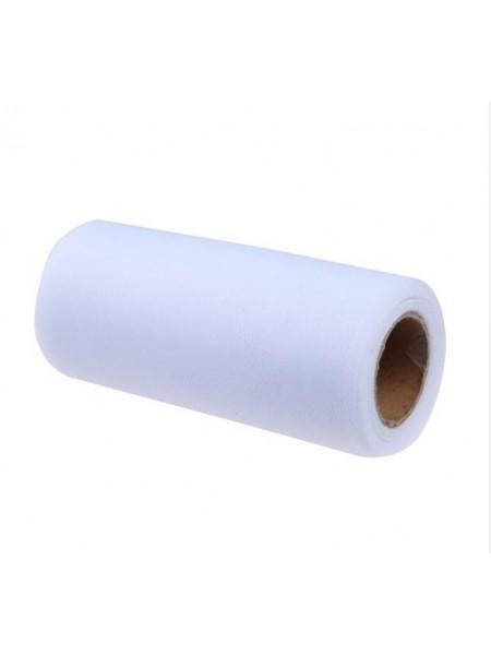 Лента фатиновая, 15 см цв-№-01цв-белый,цена за 1 метр